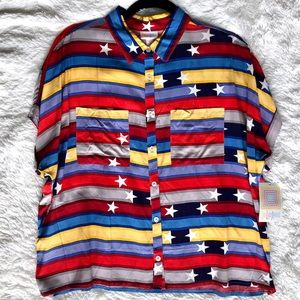 Colored stripes and stars - Dolman Top